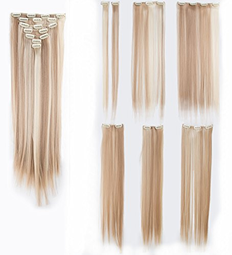 SWACC Women 22 Inches Straight Full Head 7 Separate Pieces