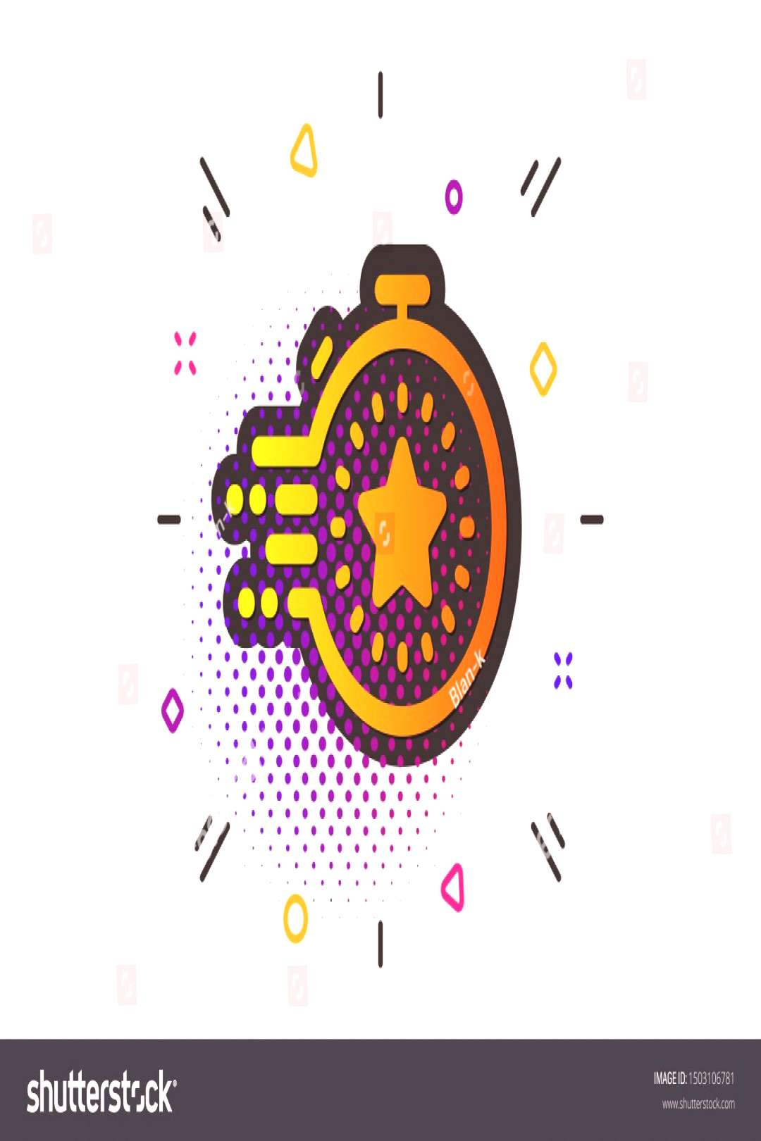 Time management sign. Halftone circles pattern. Timer icon. Stopwatch with star symbol. Classic fla