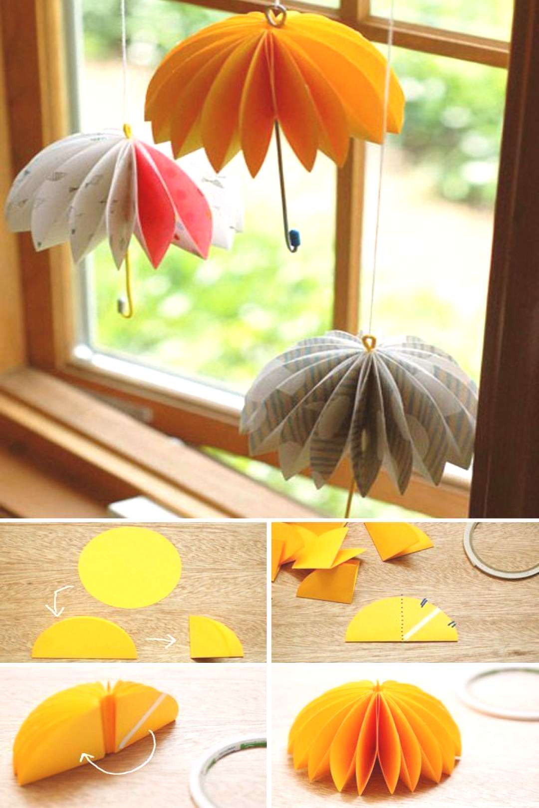Transform paper circles to hanging umbrellas.