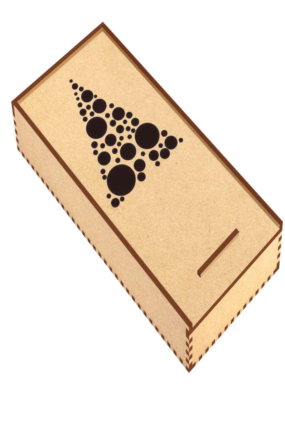 'Triangle Circles' Wooden Pencil Case / Slide Top Box (PC00002007)#Wooden#Pencil... -  'Triangle