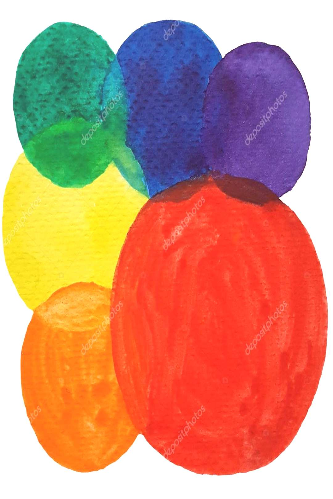 Watercolor colorful circles abstract background. Set of multicolored watercolor ,