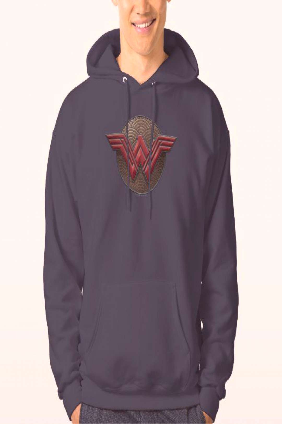 Wonder Woman Symbol Over Concentric Circles Hoodie ,